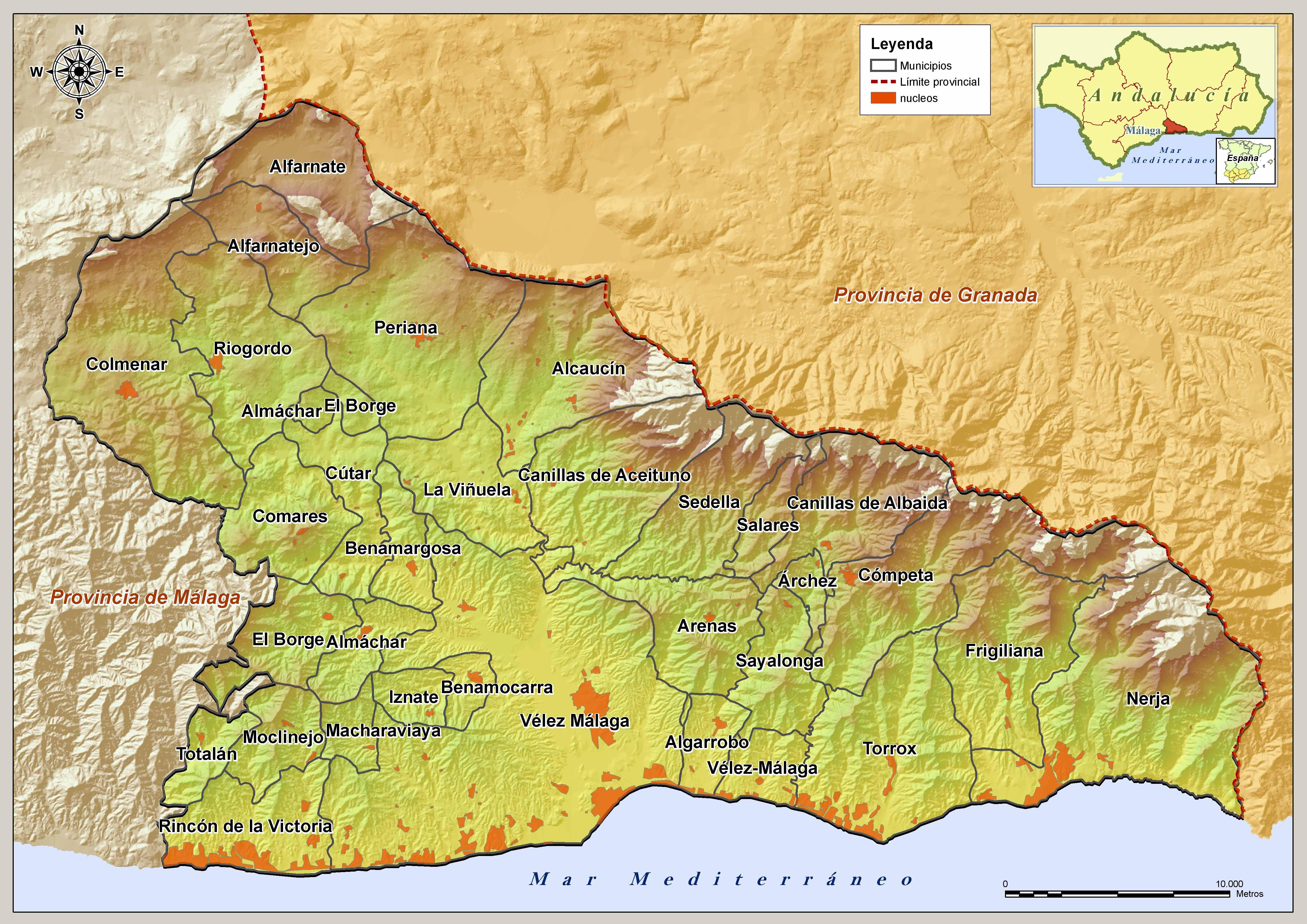 Mapa Axarquía
