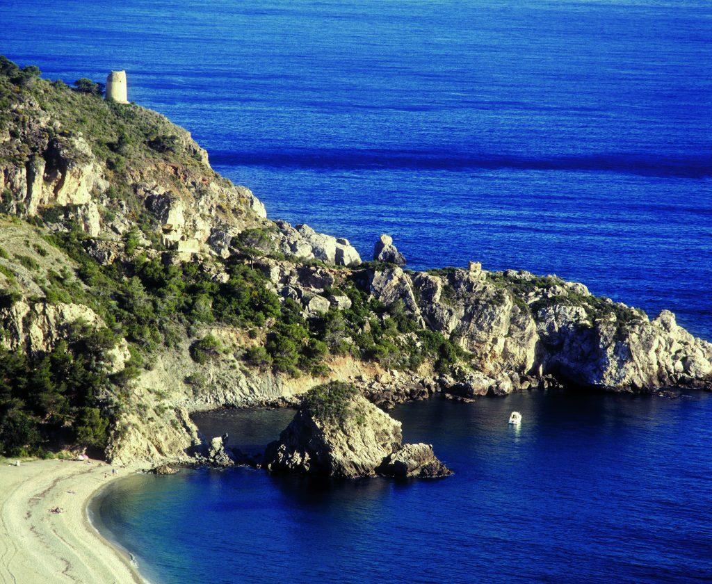 Parque Natural Acantilados de Maro-Cerro Gordo. Nerja. Málaga. Andalucía. España. Cala del Cañuelo.